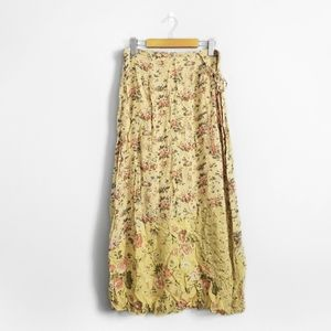 APRIL CORNELL Yellow Floral Patchwork Maxi Skirt